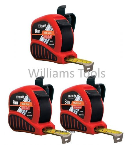 3 x Fisco BrickMate Tape Measure 8m Brick Block Courses 25mm Blade Metric Builders